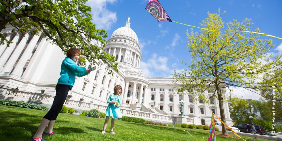 Flying Kites on Capitol Square