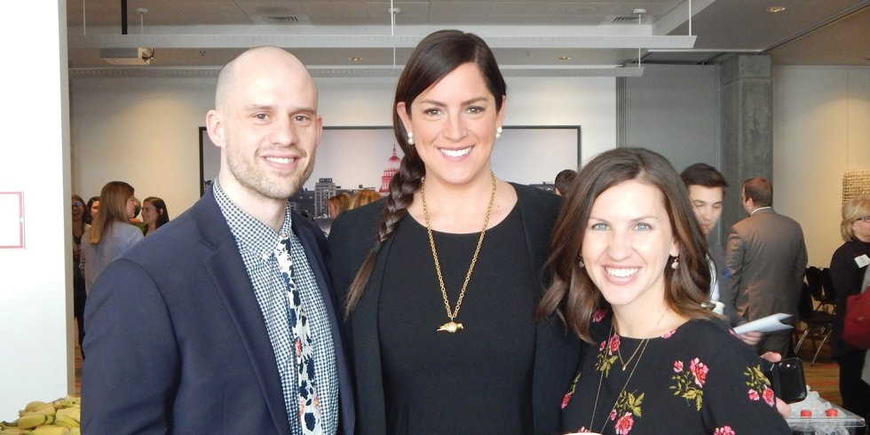 Sarah Spain poses with Jamie Patrick and Kate Dale of the Madison Area Sports Commission