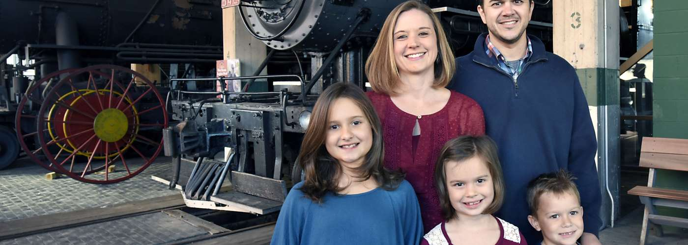Family enjoying the Transportation Museum