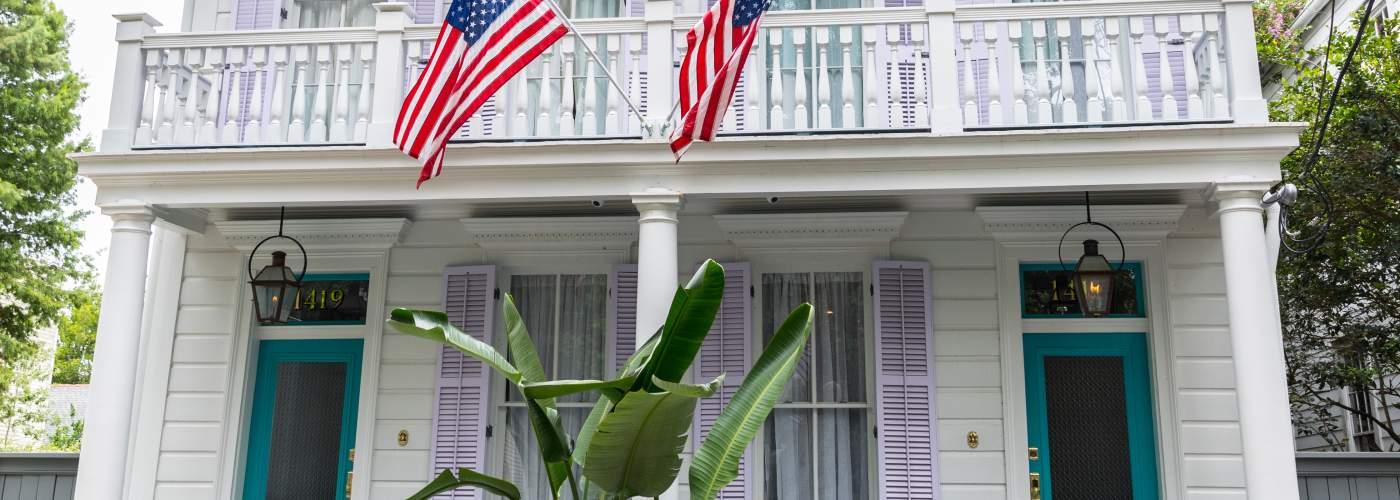 Garden District home, flags