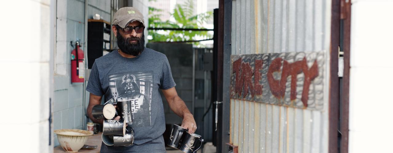 Shishir at Tire City Potters