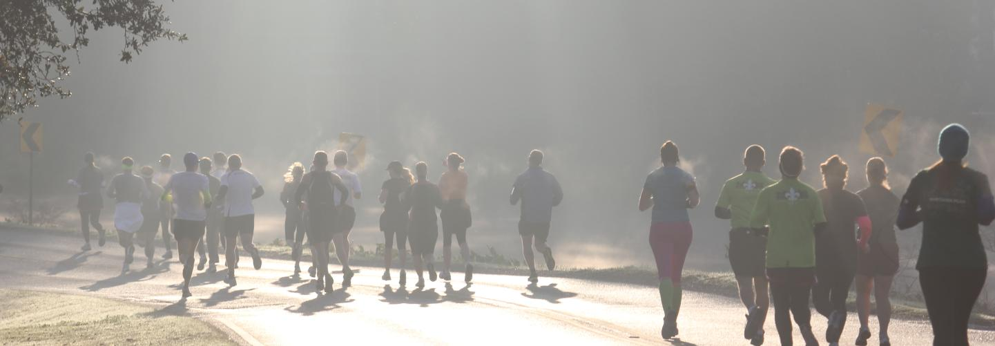Early morning runners in the Louisiana Marathon