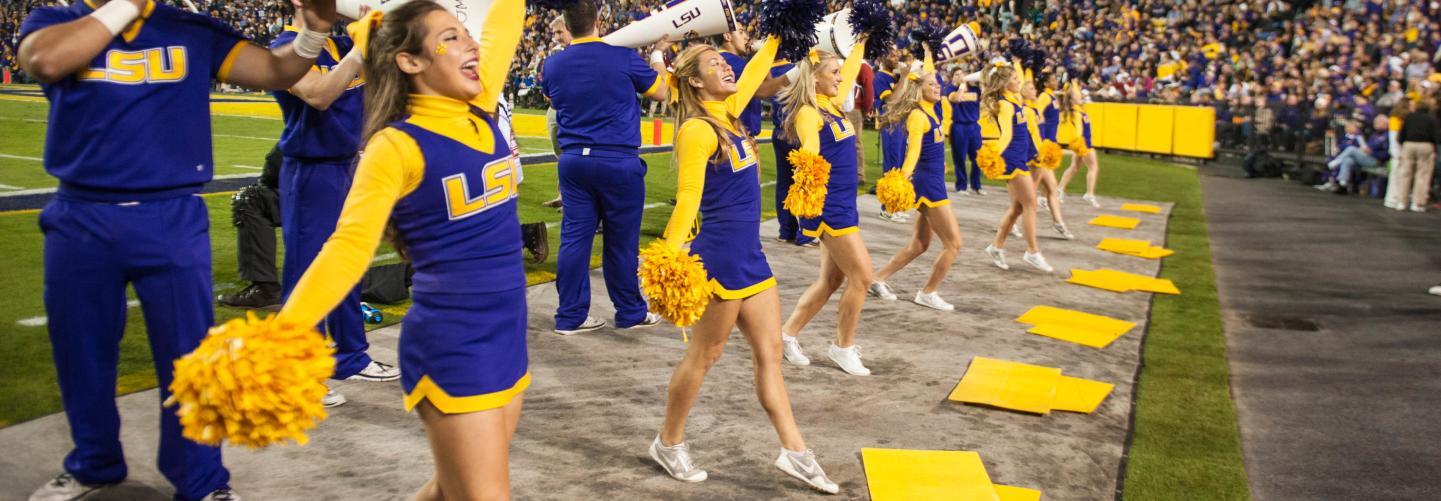 LSU Cheerleaders getting the crowd pumped up at a football game