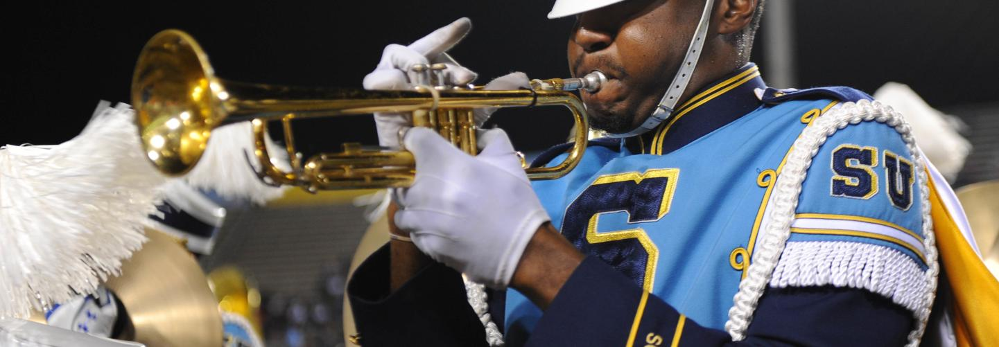 Trumpet player in the Southern University Band