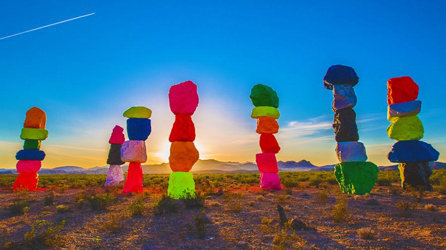 "Ugo Rondinone's ""Seven Magic Mountains"" near Las Vegas, Nevada"