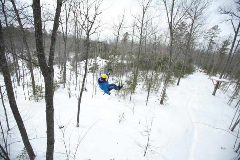 Winter zipline in Northwoods, Wisconsin region