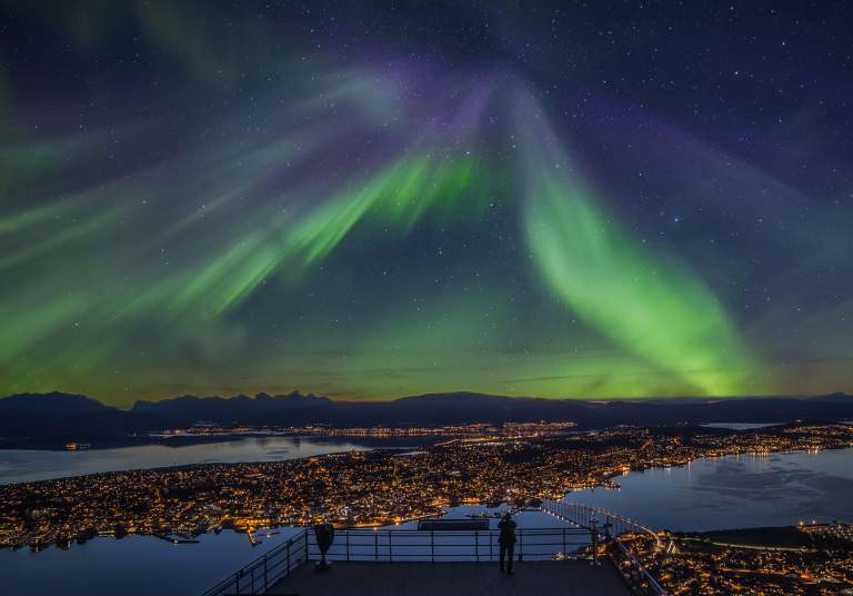 Northern lights over Tromsø city centre
