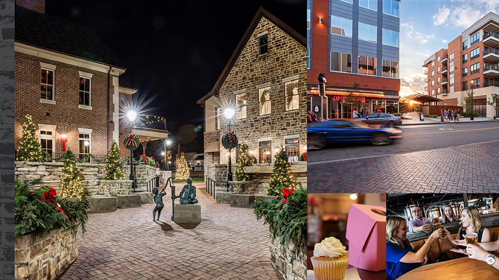 Collage of holiday experiences in Downtown Dublin, Ohio