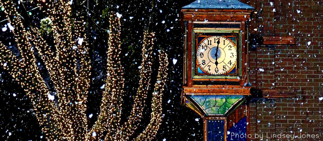 Forest City Clock in Winter Lights and Snow}