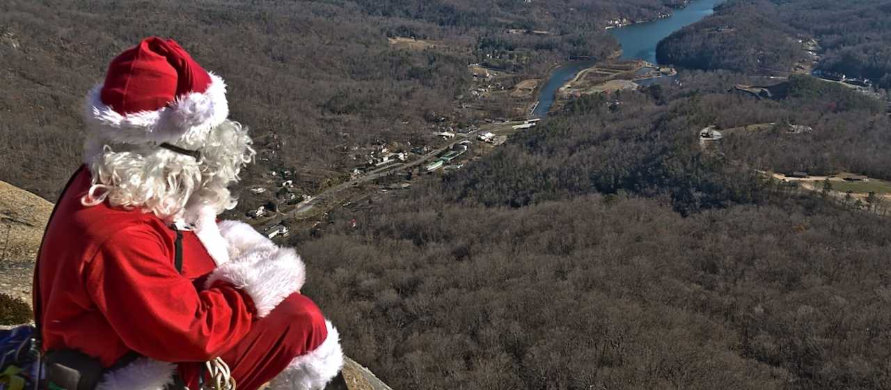 Santa at the top of Chimney Rock}