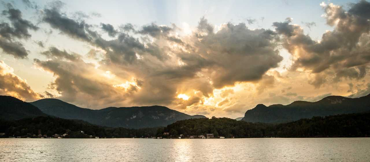 Glorious sunset over the mountains in Lake Lure}