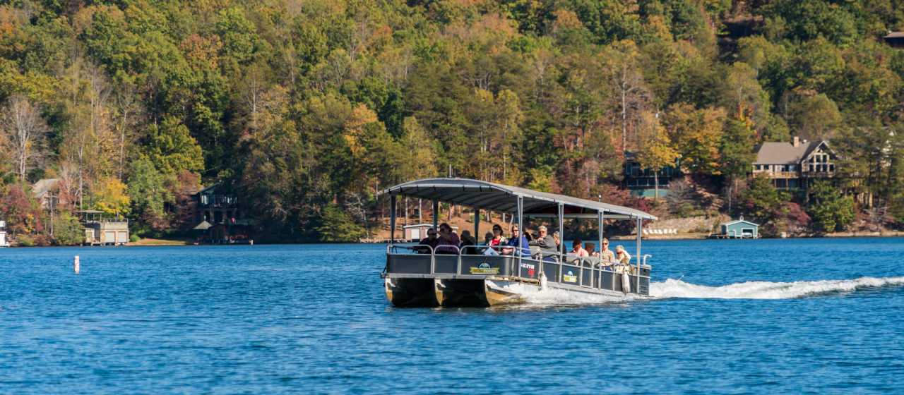 Fall color boat tour on Lake Lure}