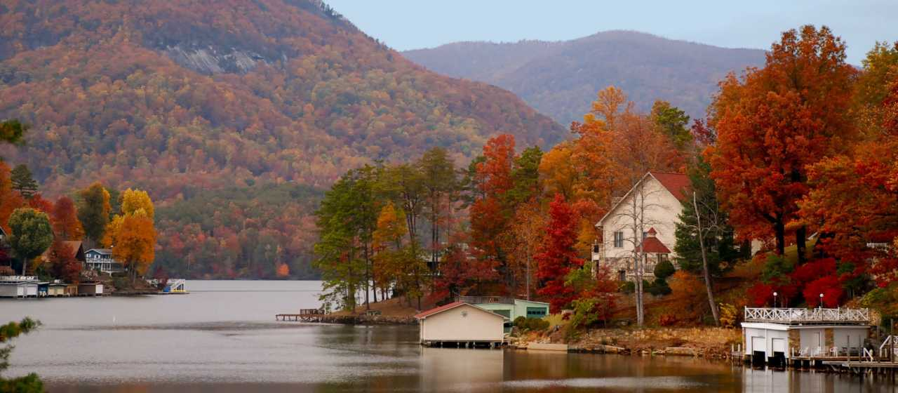 Fall color covers Lake Lure}