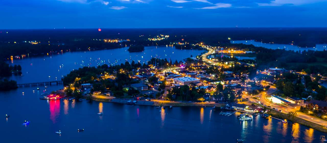 aerial view of lake at night