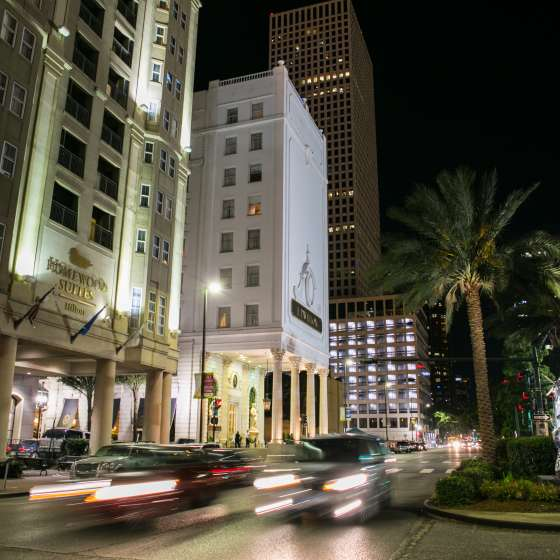 Poydras Street at night