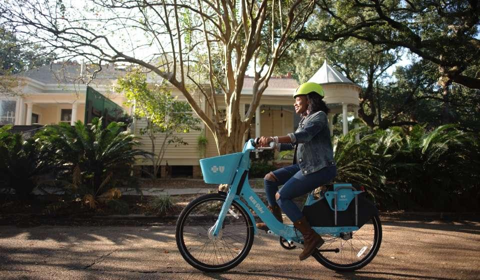 Blue Bikes in Bayou St. John