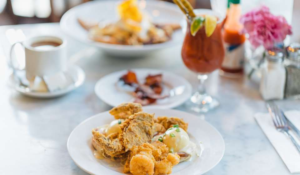 Bananas Foster French Toast and Breakfast Seafood Platter - Brunch at Stanley