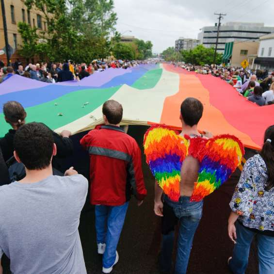 Crowd Carrying Flag at 2009 Pride Festival