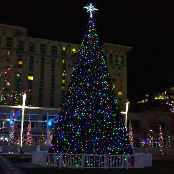 Christmas Tree at Gallivan Center Ice Skating Rink - Holiday Lights