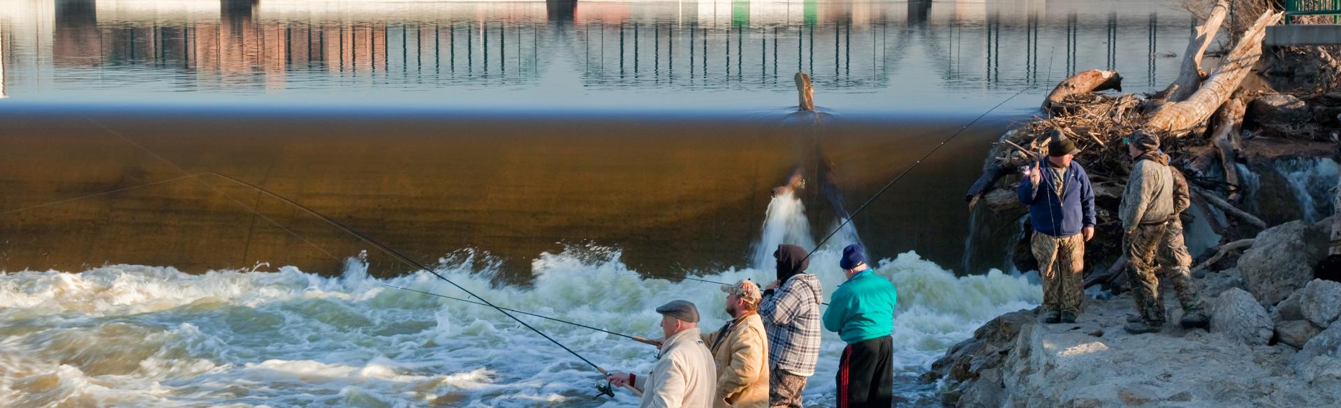 Fishing near dam and Gillett Bridge