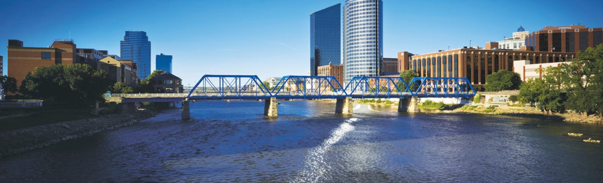 Downtown skyline with bridge