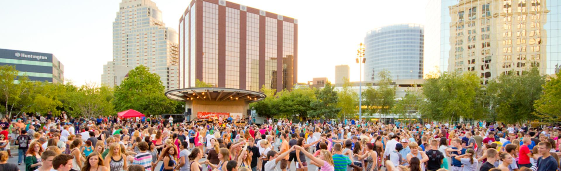 Swing dancing in downtown Grand Rapids