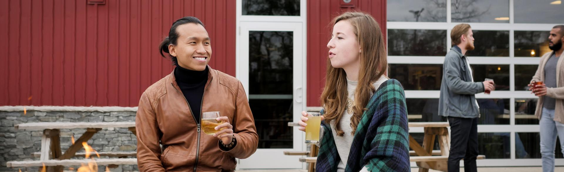 Couple at Vander Mill patio