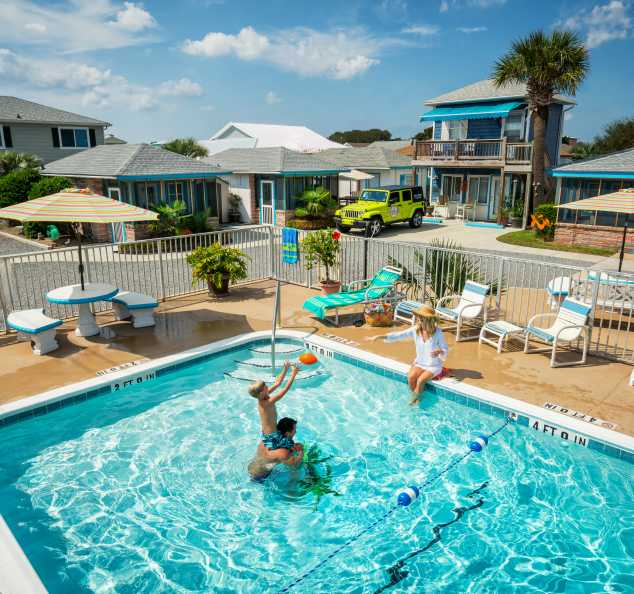 Family in Pool Kure Beach