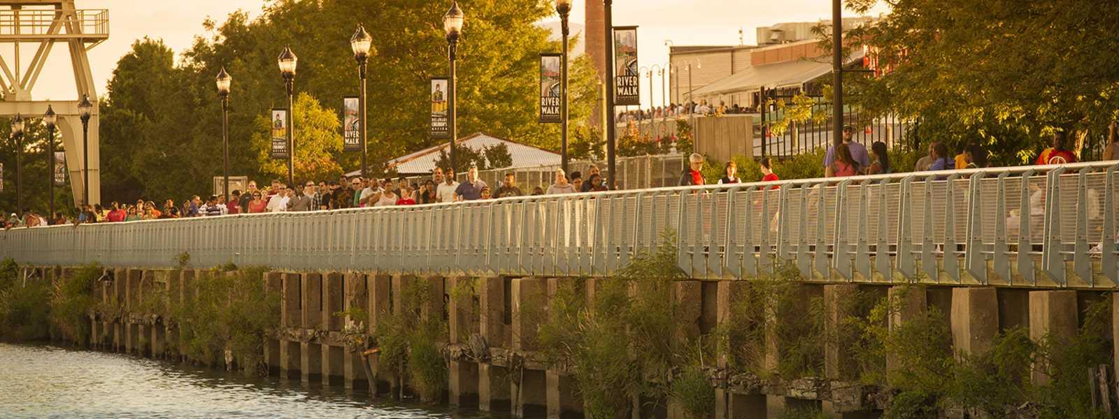 Crowded Riverwalk in Wilmington, Delaware