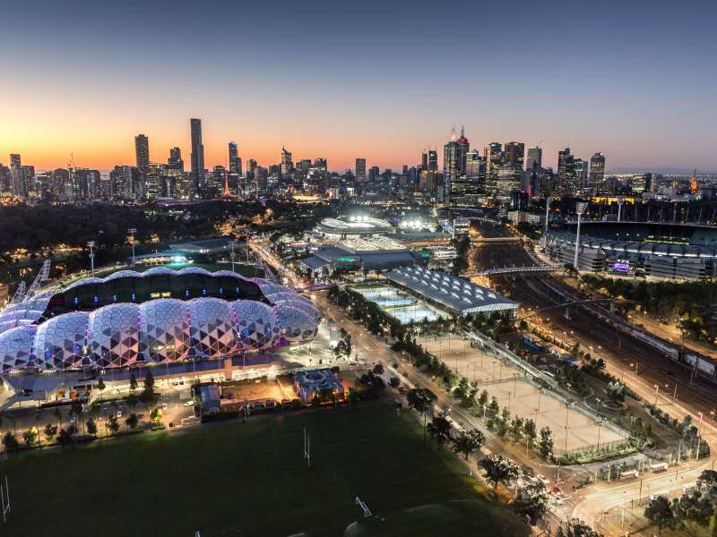 Melbourne's Sporting Precinct and view of city skyline