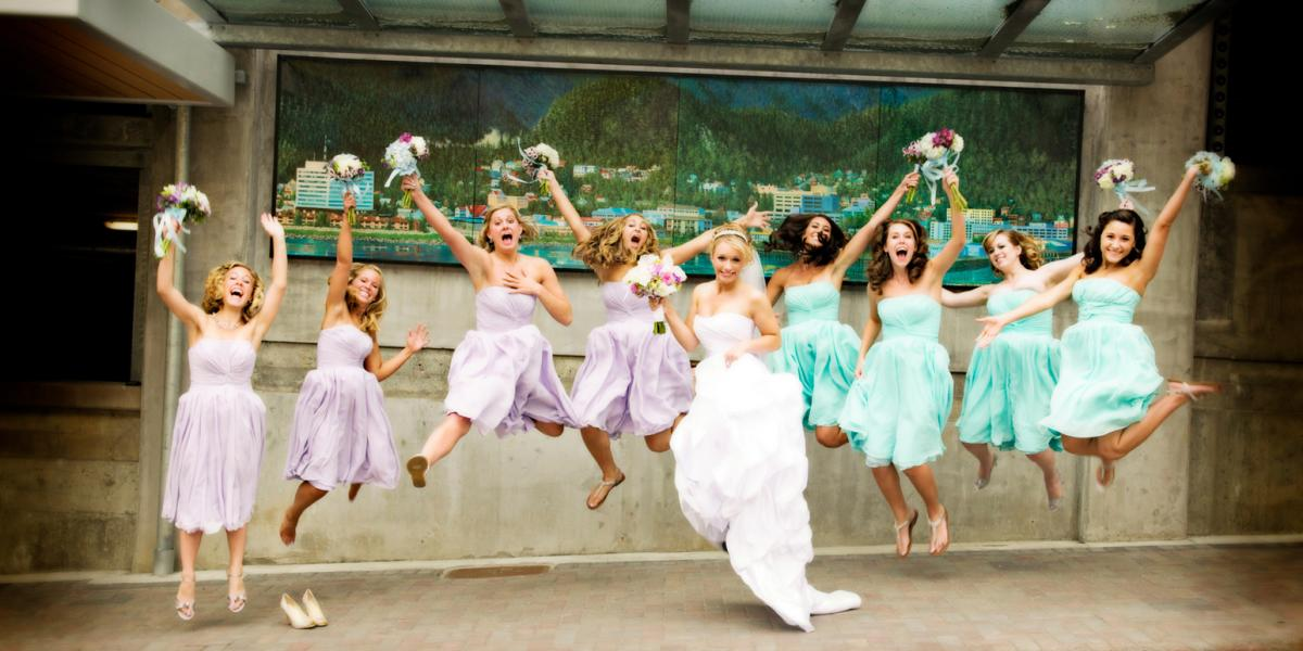Wedding Party Jump for Joy