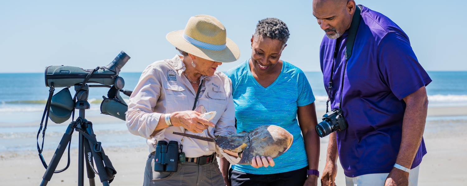 A naturalist teaches guests about wildlife found on the beaches on Little St. Simons Island, Georgia