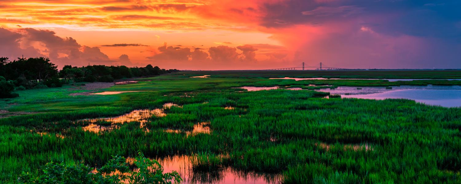 A dramatic sunset over the famed Marshes of Glynn in Brunswick, Georgia