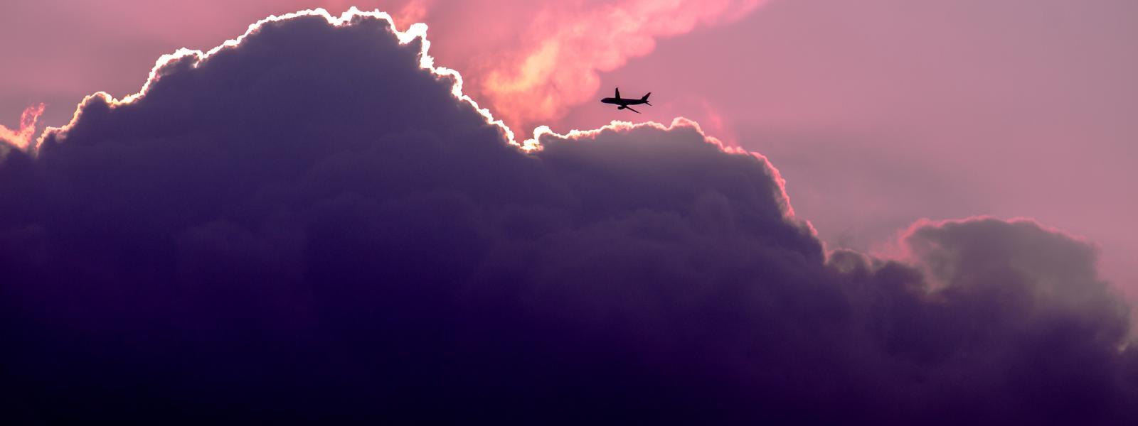 Airplane in pink skies