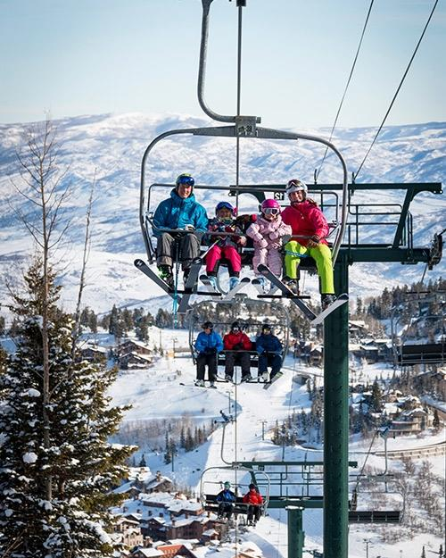 Deer Valley Resort Skiers on Chair