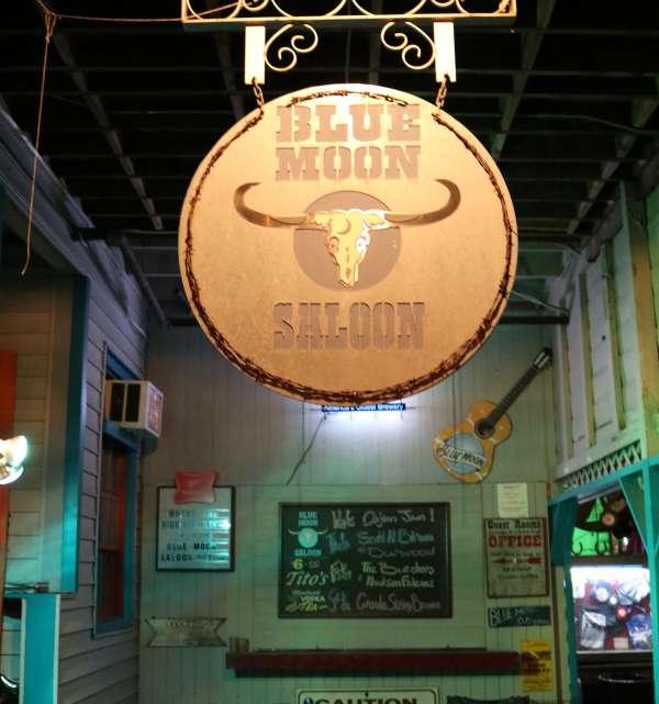 Blue Moon Saloon Entrance Sign