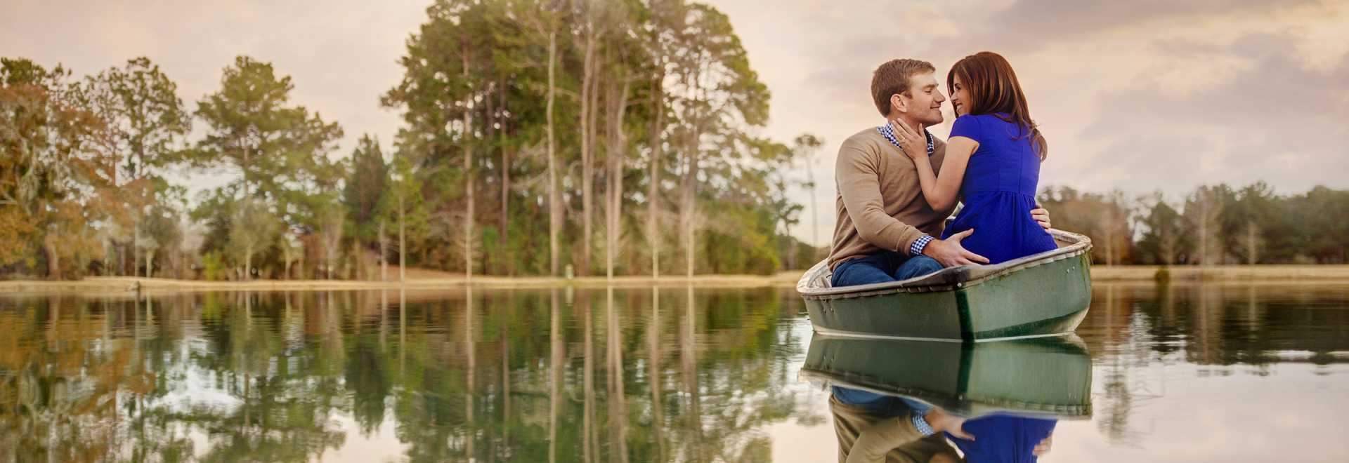 Couple Kissing in Canoe