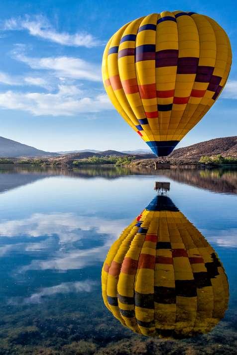 Hot Air Balloon Over Lake Skinner