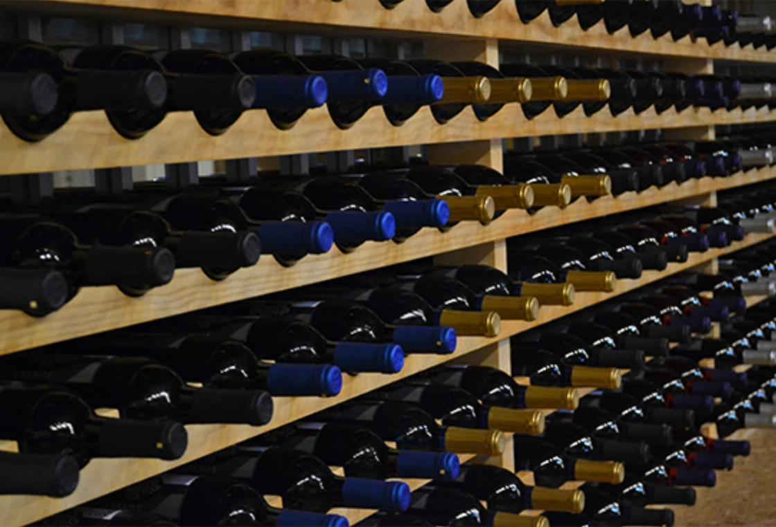 racks and racks of wines from sunset point winery