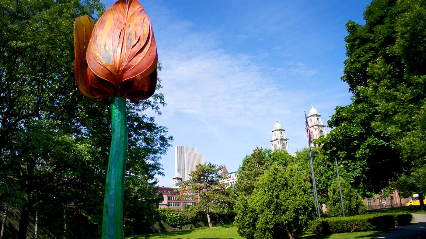 Outdoor flower sculpture