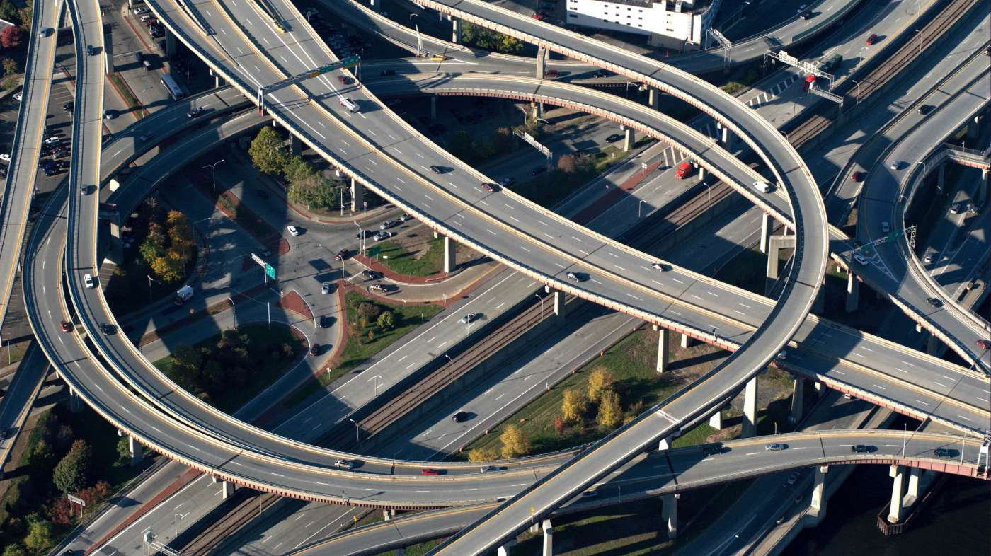 Aerial view of highway system