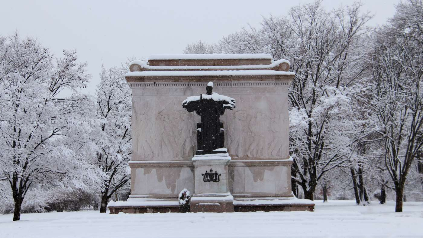 Winter in Washington Park, snowy monuments greet visitors