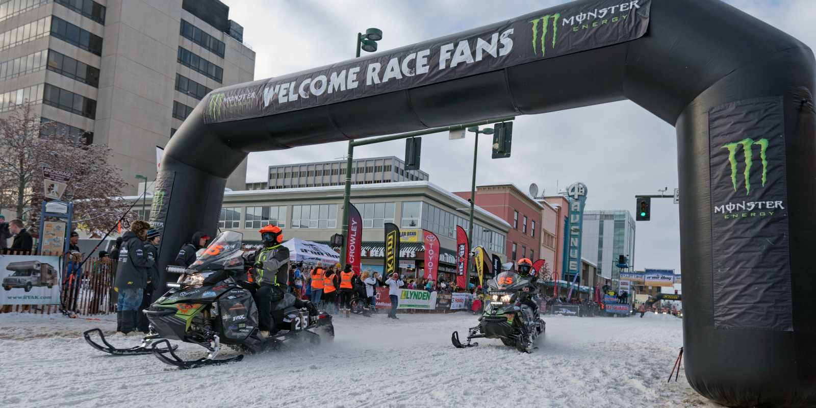 Iron Dog racers begin the race in downtown Anchorage.