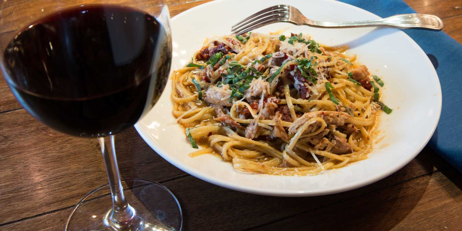Creamy pasta and a nice red at ORSO in Anchorage