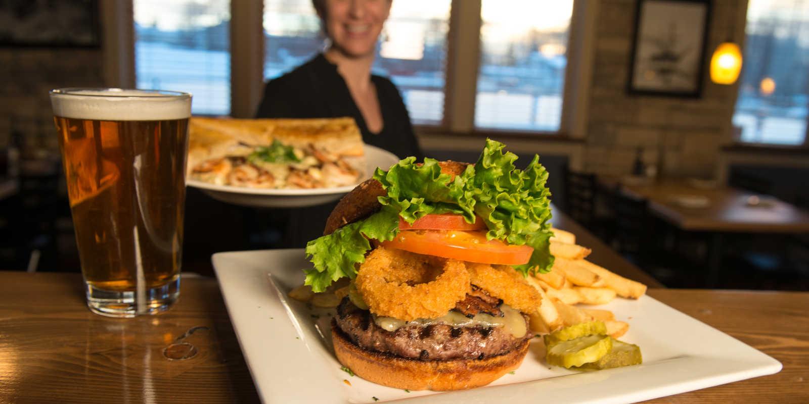 Anchorage dining hamburger and microbrew Seward Folly