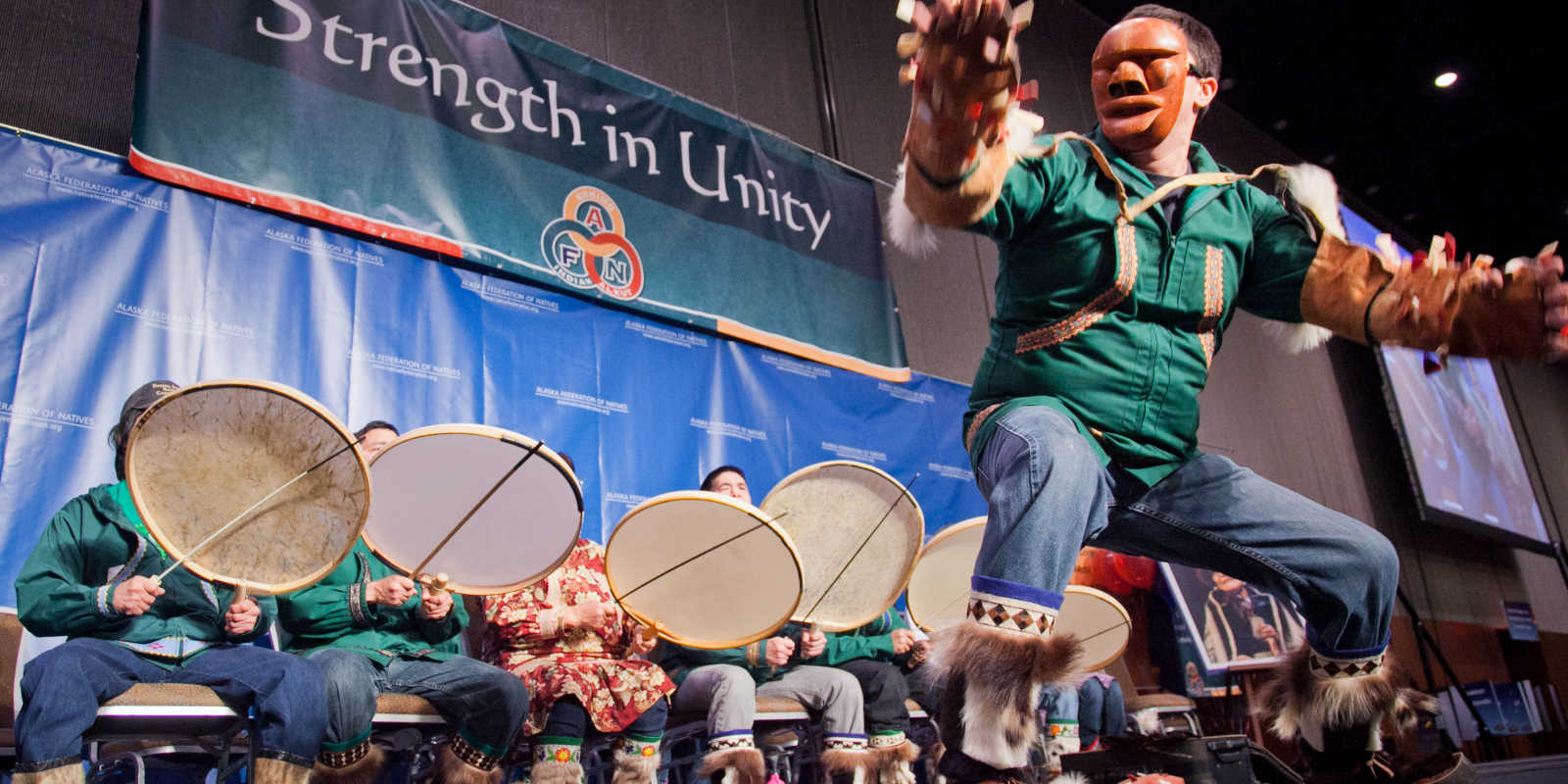 Alaska Native dancing and drumming at AFN convention