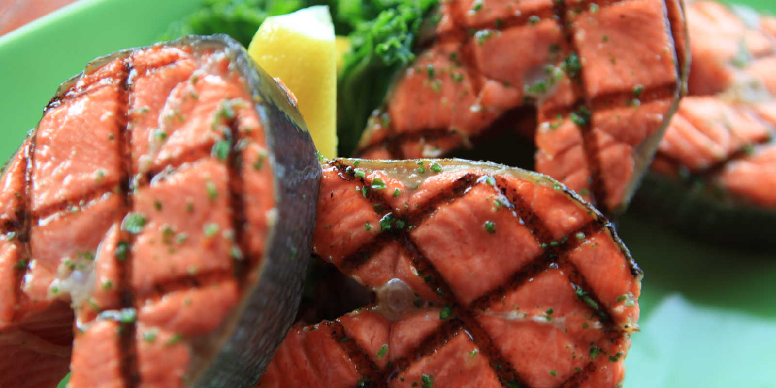 SAlmon steaks at Bridge Seafood restaurant