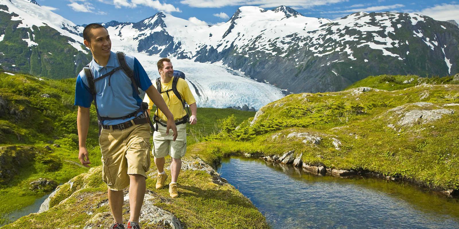 Hiking near Portage Pass in Anchorage, Alaska