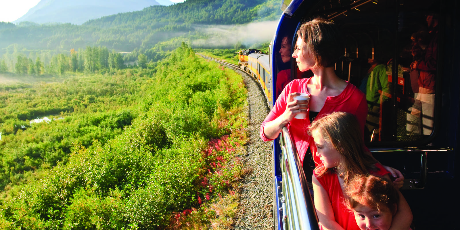 Family travel aboard the Alaska Railroad from Anchorage