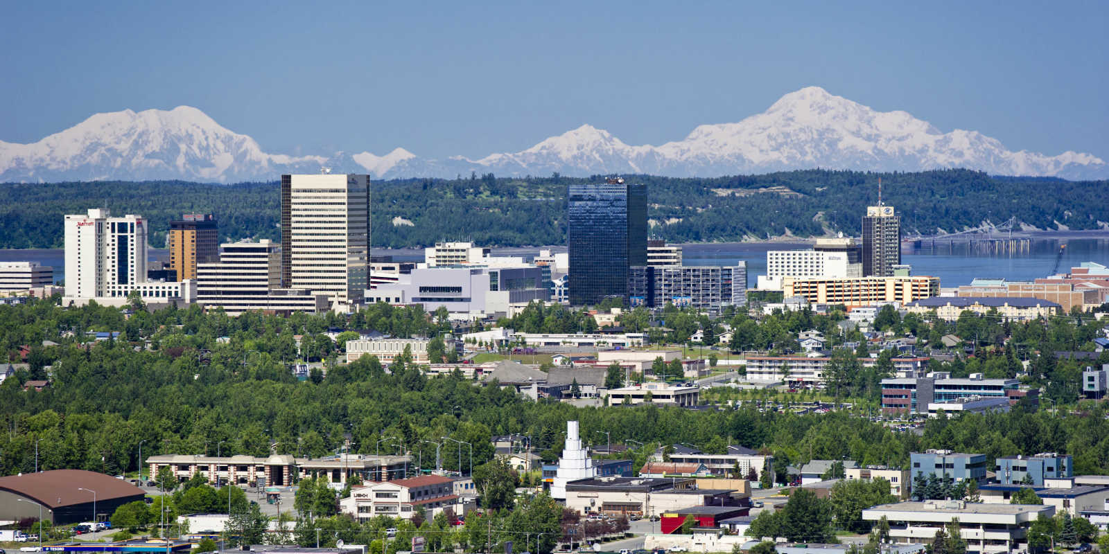 Anchorage skyline with Denali and other Alaska range peaks